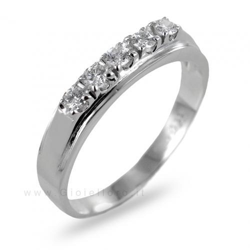 Anello riviera 5 diamanti in oro e diamanti ct 0.22g