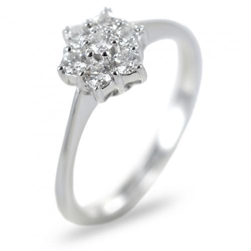 Anello Rosetta in oro e diamanti ct 0.34 G Gioielli Valenza