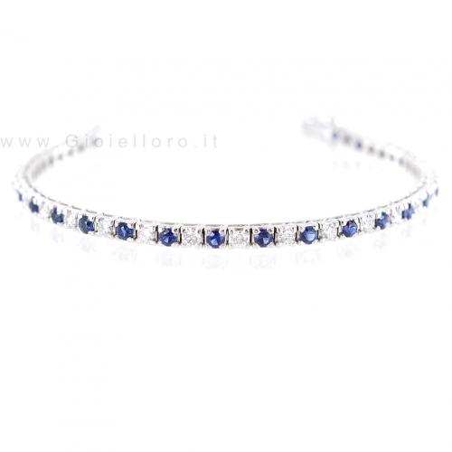 Bracciale Tennis alternato Diamanti e Zaffiri - Tennis Colore