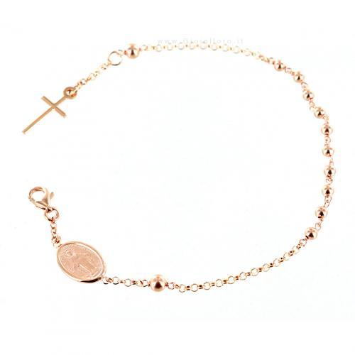 Bracciale rosario in oro rosa con medaglia Madonna Miracolosa