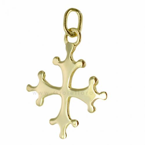 Ciondolo Croce Pisa in oro giallo 18 kt