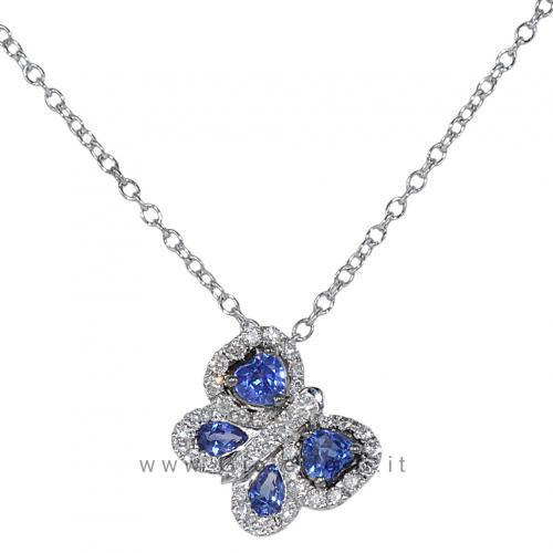 Collana Farfalla con diamanti e zaffiri - Gioielli Valenza