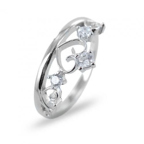 anello a forma di corona in argento con zirconi misura 18