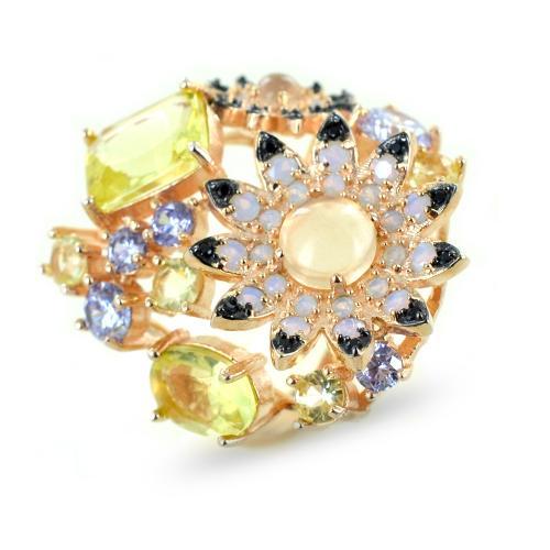 anello con margherite quarzo in argento e zirconi gioielli samui