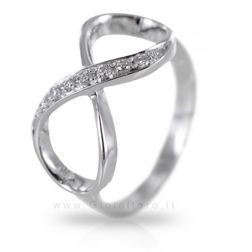 Anello Infinity in argento e zirconi Orsini Gioielli