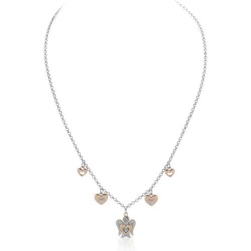 Collana con ciondoli in argento con zirconi