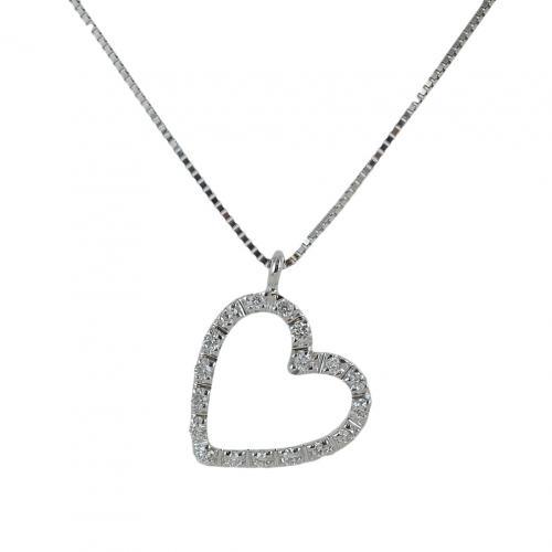 gioielloro collana con ciondolo cuore di diamanti - pendente a forma di cuoricino