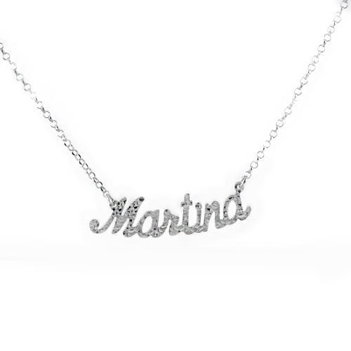 collana da ragazza personalizzata con nome in argento luccicante