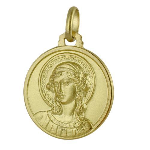 Medaglia San Gabriele Arcangelo in oro giallo 16 mm