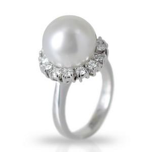 Anello Fiore di Perla australiana e Diamanti - gallery