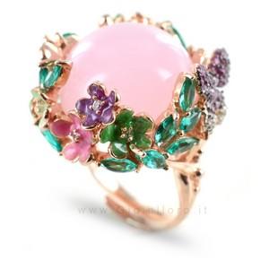 Anello GIOIELLI SAMUI in argento e pietre preziose BOULE rosa - gallery