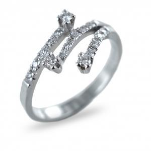Anello Trilogy fantasia in oro e diamanti con diamanti sul gambo ct 0.24 G collezione Marilyn - gallery