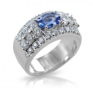 Anello a fascia con Zaffiro Ceylon centrale e diamanti - gallery