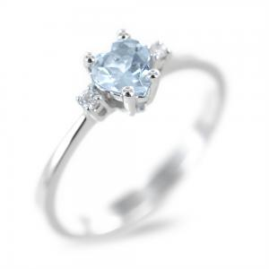 Anello con Acquamarina Cuore e diamanti - gallery