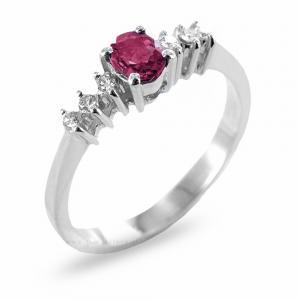 Anello con Rubino ct 0.46 e Diamanti sul gambo - gallery
