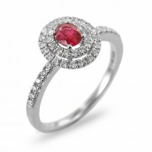 Anello con Rubino ovale e doppio contorno di diamanti Gioielli Valenza - gallery