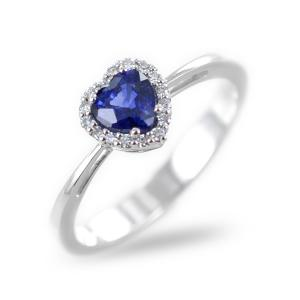 Anello con Zaffiro Cuore e diamanti - gallery