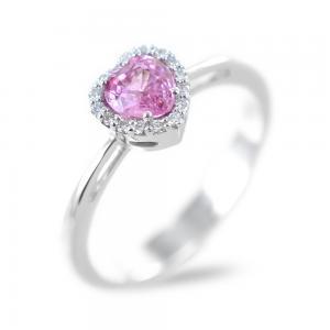 Anello con Zaffiro Rosa Cuore e diamanti - gallery