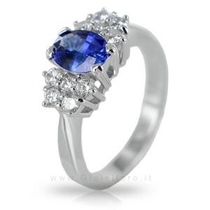 Anello con Zaffiro centrale 0.93 ct e Diamanti 0.40 G - gallery