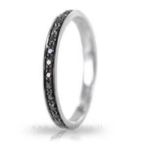 Anello da uomo Orsini oro bianco e diamanti neri - gallery
