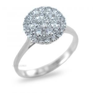 Anello effetto Solitario in oro e Diamanti Dluce  ct. 0.66 colore G contorno di diamanti - gallery