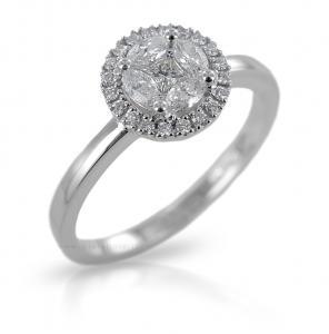 Anello effetto solitario Salvini con diamanti ct. 0.15 G SI collezione Cleofe - gallery