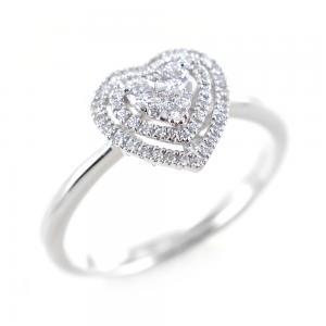 Anello fantasia cuore con doppio contorno di Diamanti  - gallery