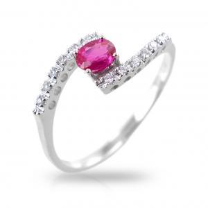 Anello fantasia intrecciato con Diamanti e rubino - gallery