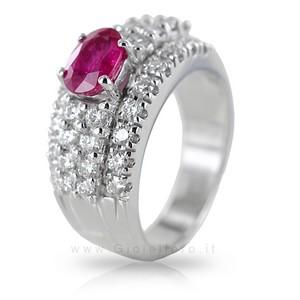 Anello fascia Fantasia con Rubino e Diamanti - gallery