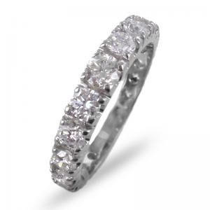Anello fedina Eternity a scalare in oro e diamanti ct. 1.55 G VS - gallery