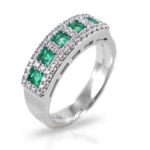 Anello in oro e diamanti con Smeraldi Columbia Gioielli Valenza - gallery