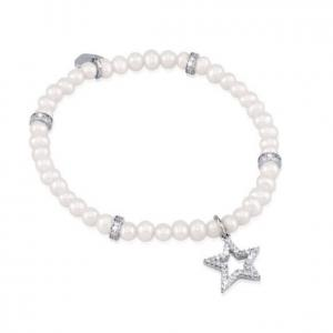 Bracciale da donna Mabina in argento con perle e zirconi - Medium - gallery