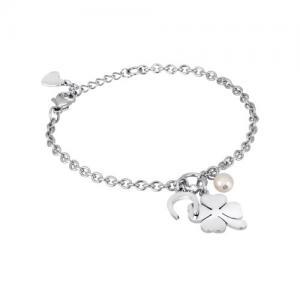 Bracciale con charm QUADRIFOGLIO 2Jewels in acciaio e perla collezione PREPPY - gallery