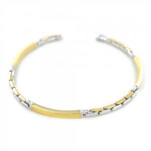 Bracciale da uomo in oro giallo e bianco con targhe - gallery