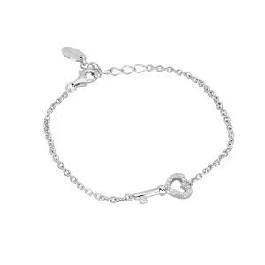 Bracciale in argento chiave con zirconi - gallery