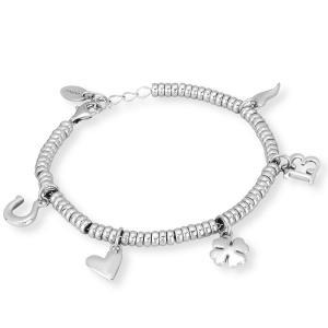 Bracciale in argento con charms porta fortuna - gallery