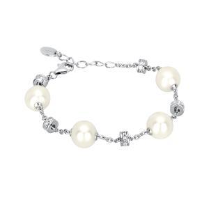 Bracciale in argento con perle e zirconi - gallery