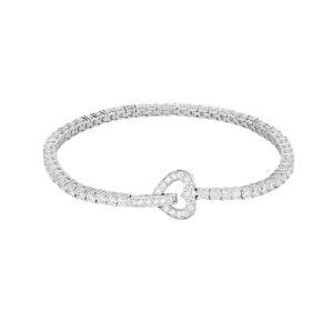 Bracciale tennis cuore in argento con zirconi - gallery