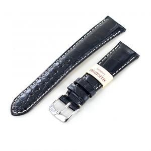 Cinturino Morellato in Vera pelle di Alligatore Louisiana colore nero 22 mm - gallery