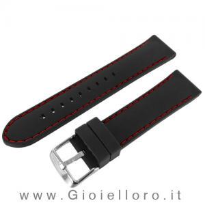 Cinturino Morellato in silicone con cuciture rosse Ansa 22 mm - gallery