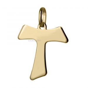 Ciondolo Croce Tao in oro giallo 18 kt 20X21 mm - gallery