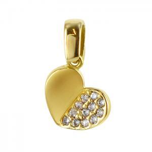 Ciondolo Cuore in oro giallo e zirconi con collana - gallery