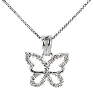Ciondolo Farfalla in oro bianco e zirconi con collana in argento - gallery
