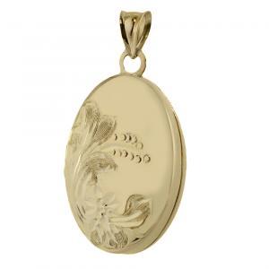 Ciondolo porta ricordi ovale in oro giallo - gallery