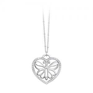 Collana 2Jewels donna CARPE DIEM in acciaio e cristalli - charm cuore e farfalla - gallery