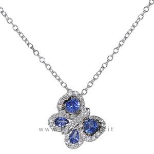 Collana Farfalla con diamanti e zaffiri - Gioielli Valenza - gallery