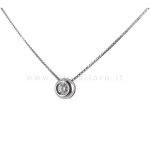 Collana Punto Luce Cipollina con diamante ct 0.09 G VVS Gioielli Marilyn - gallery