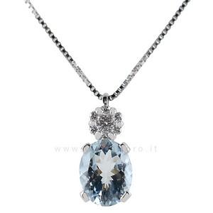 Collana con Ciondolo Acquamarina Ovale e Diamanti - gallery