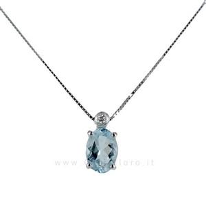 Collana con Ciondolo Acquamarina 0.60 e Diamante collezione Ingrid - gallery