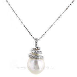 Collana con Ciondolo Perla Australiana 12 mm e diamanti - gallery